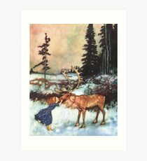 Reindeer Kiss christmas design Art Print