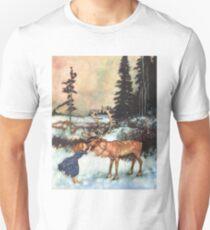 Reindeer Kiss christmas design Unisex T-Shirt