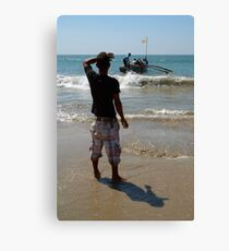 Watching the Boat Leave Palolem Beach Canvas Print