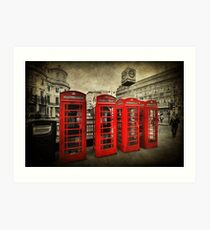 4 Red Phone Booths Art Print