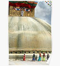 Circumambulating the Stupa Boudha Poster