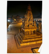 Durbar Square at Night Bhaktapur Poster