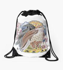 lady hawk and crow Drawstring Bag