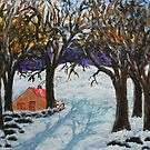 Cottage in winter by George Hunter