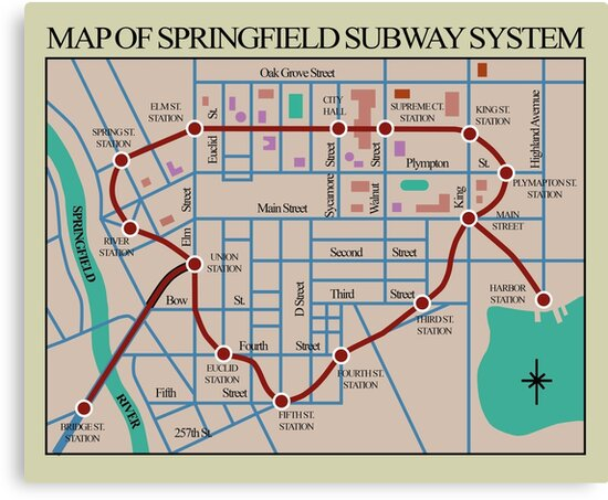 QuotSpringfield Subway System Mapquot Canvas Prints By