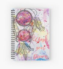 "Watercolor sketch Dreamcatcher ""Chase your Dreams"" quote Spiral Notebook"