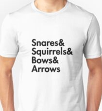 Snares& squirrels& bows& arrows....(BLACK FONT SHIRT) Unisex T-Shirt