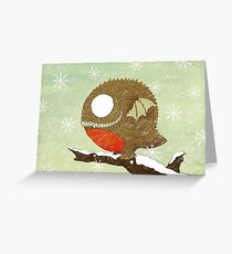 Winter Red Belly Robin Dragon  Greeting Card