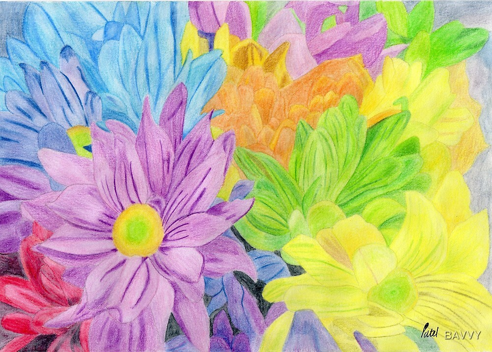 Brightly Coloured Flowers by BAVVY
