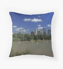 Brisbane Panorama With Abseiler Throw Pillow