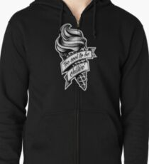 Too Cool... black and white Zipped Hoodie