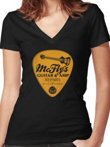 McFly's Repairs - Orange Women's Fitted V-Neck T-Shirt