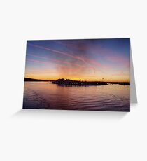 Golden dawn, Sunrise over Cork bay in Ireland Greeting Card