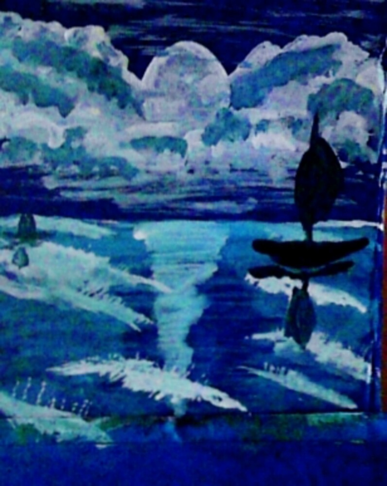 Moonlight sail,,, watercolor by Anna  Lewis, blind artist