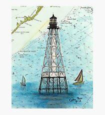 Alligator Reef Lighthouse FL Nautical Chart Peek Photographic Print