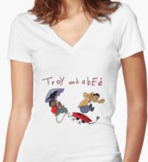 Troy and Abed Falling Women's Fitted V-Neck T-Shirt