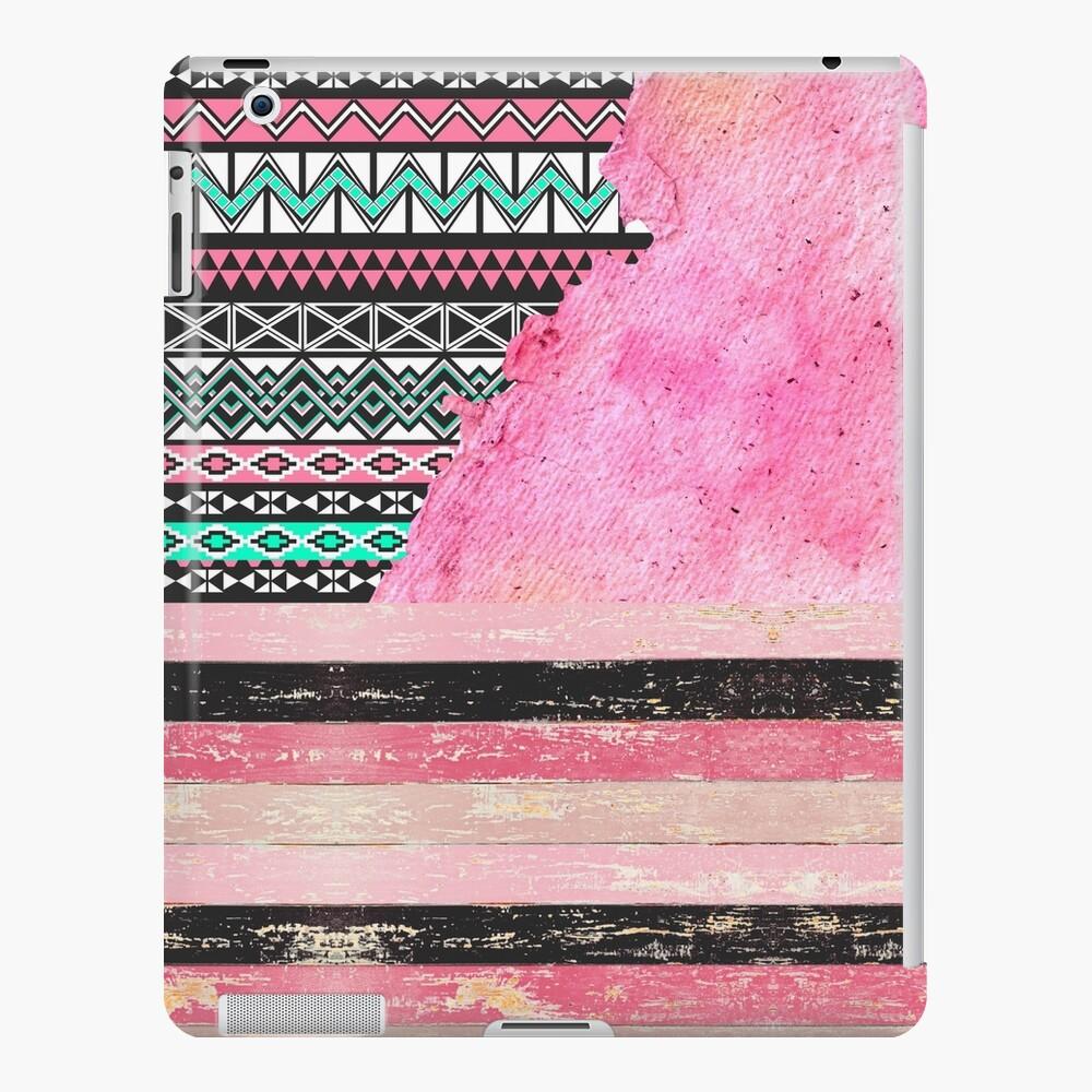 Pink & Teal Aztec, Watercolor Paper, & Wood Funda y vinilo para iPad