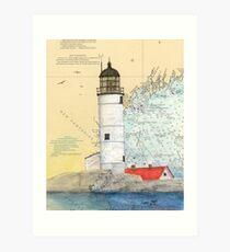Isle of Shoals Lighthouse NH Chart Map Cathy Peek Art Print
