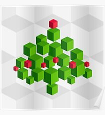 3D pixel Christmas tree Poster