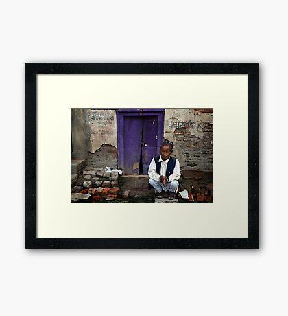 By the Purple Door Framed Print