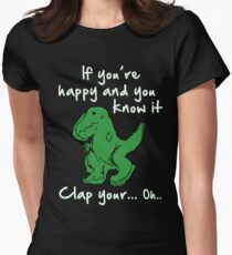 A Happy Dinosaur? White Text Womens Fitted T-Shirt