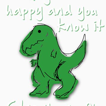 A Happy Dinosaur? White Text by barnsleynut