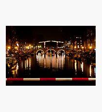 A bridge on the Prinsengracht at night.  Photographic Print