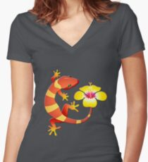 Orange and Yellow Jungle Lizard with Yellow Hibiscus/BACKGROUND Women's Fitted V-Neck T-Shirt