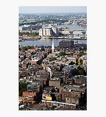 Arial view of Boston's North End and the Tobin Bridge Photographic Print
