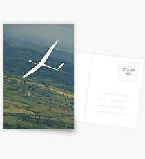 Gliders thermaling over English countryside. Postcards