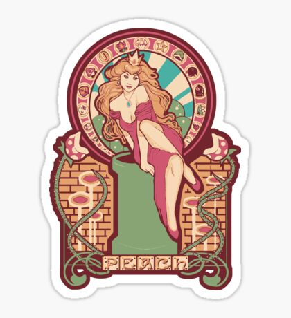 Peach Nouveau Sticker