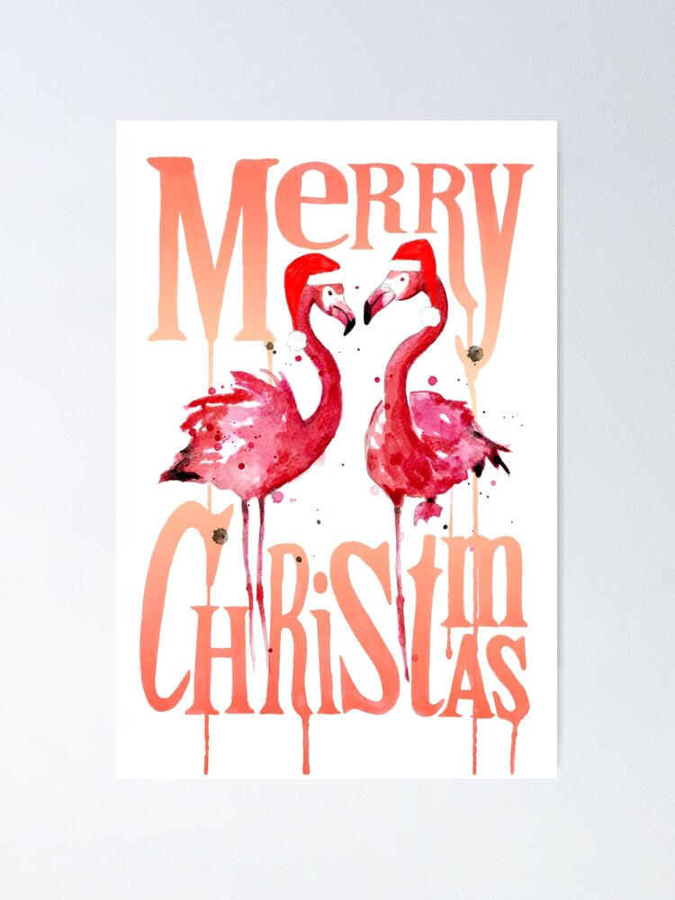 Alternate view of Christmas Flamingos Poster