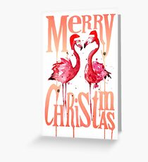 Christmas Flamingos Greeting Card
