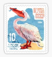 Russia Pelican Postage Stamp Sticker