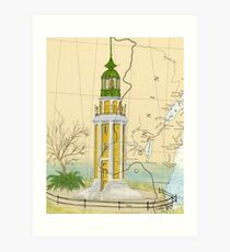 Brays Pt Lighthouse WI Nautical Chart Cathy Peek Art Print