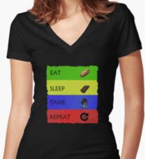 ARK Survival evolved -  EAT SLEEP TAME REPEAT Women's Fitted V-Neck T-Shirt