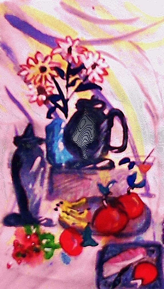Flowers, fruit with bread and cheese, watercolor by Anna  Lewis, blind artist