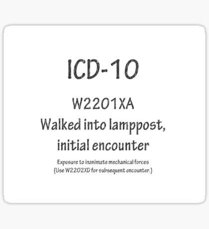 W2201XA  Walked into lamppost, initial encounter Sticker