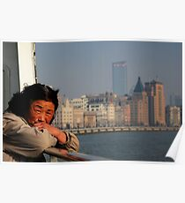 Crossing the Huangpu river, Shanghai, China. Poster