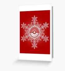 Pokeball Snowflake Greeting Card