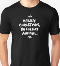Merry Christmas, Ya Filthy Animal – Black Unisex T-Shirt