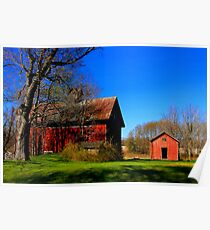 """"""" A Red Barn ,with Green Grass and Blue Sky """" Poster"""
