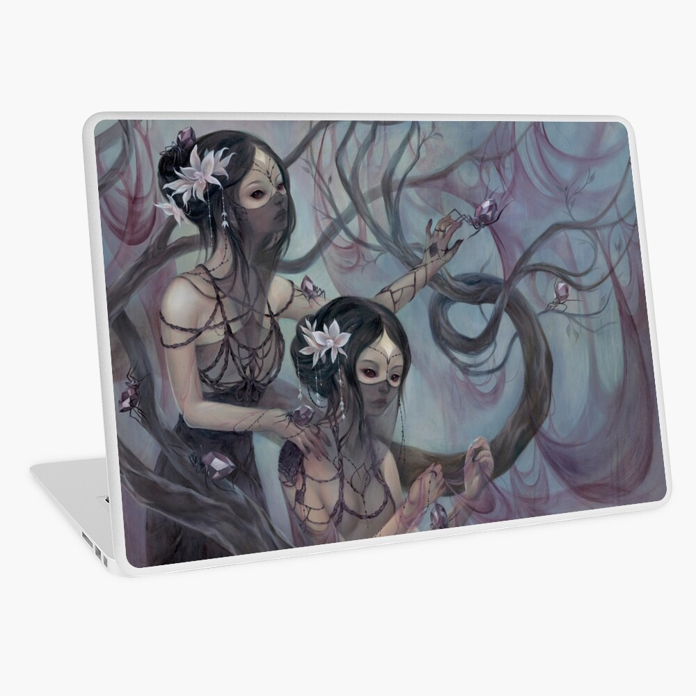 collecting silk from crystal spiders Laptop Skin