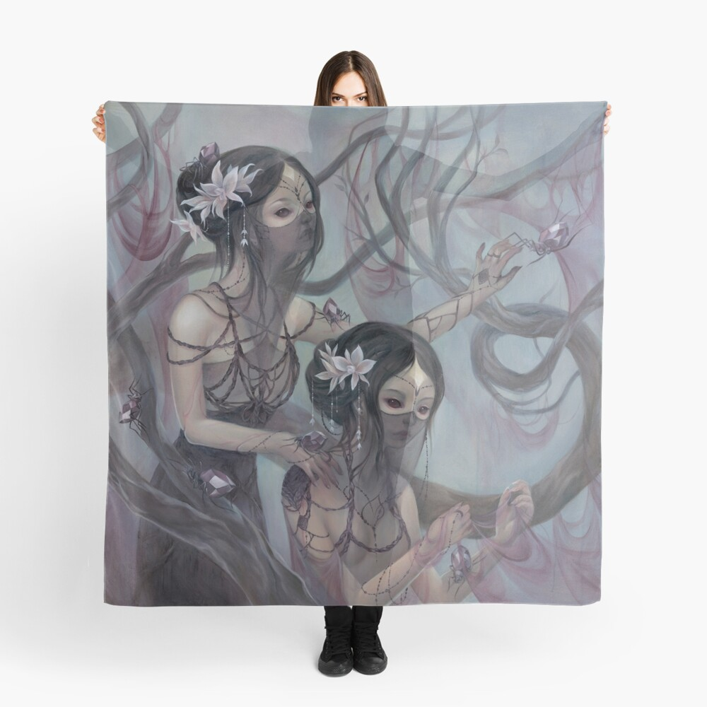 collecting silk from crystal spiders Scarf
