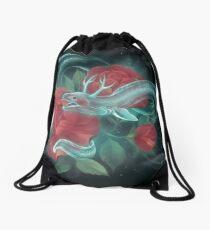 Ghost eel and roses Drawstring Bag