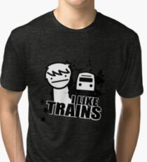 I like trains Tri-blend T-Shirt