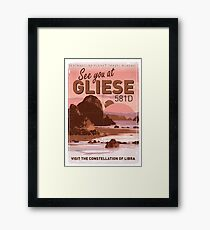 Exoplanet Travel Poster GLIESE 581 Framed Print