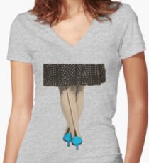 Hot Shoes - Blue! Women's Fitted V-Neck T-Shirt