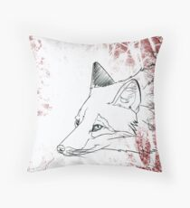 Painted Fox Throw Pillow