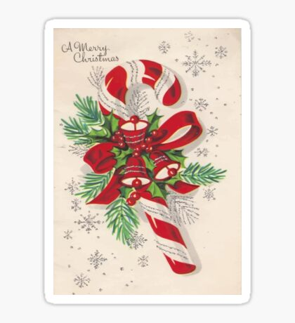 A Vintage Merry Christmas Candy Cane Sticker
